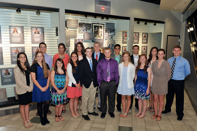 2014 Hood Sportsmanship Scholarship Winners in front of the Hood Sportsmanship Exhibit at The Sports Museum at the TD Garden. (PRNewsFoto/HP Hood)