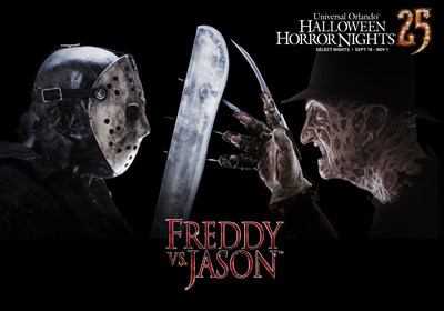 Two of the most feared icons in horror film history, A Nightmare on Elm Street's Freddy Krueger(TM) and Friday the 13th's Jason Voorhees(TM), will be unleashed at Universal Orlando's Halloween Horror Nights 25 in a terrifying new haunted house. This fall, guests can visit Universal Orlando's theme parks by day and become victims of their own horror film by night at Halloween Horror Nights 25. For more information, visit www.HalloweenHorrorNights.com/Orlando.""