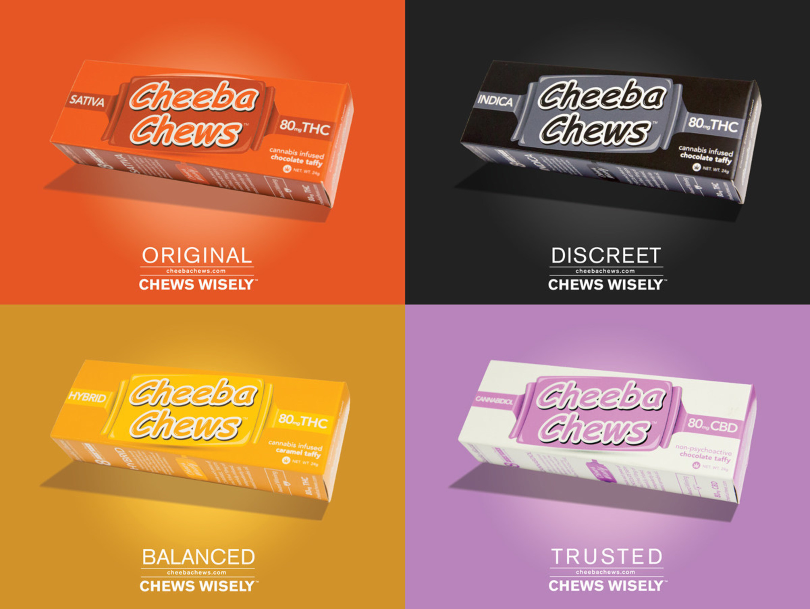 Recreational 80mg Chocolate Taffy and Caramel Chews available in Sativa, Indica, Hybrid, and Pure CBD.