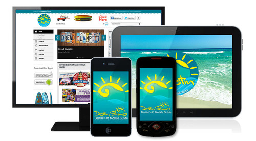TownWizard guides have content accessible across iPhone & Android apps, tablet and the web.  (PRNewsFoto/TownWizard)