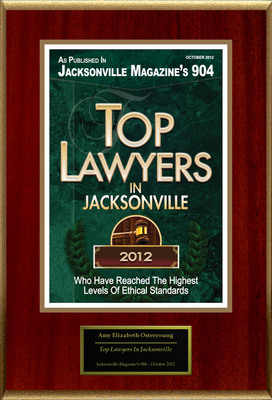 "Amy Elizabeth Osteryoung Selected For ""Top Lawyers In Jacksonville"".  (PRNewsFoto/American Registry)"