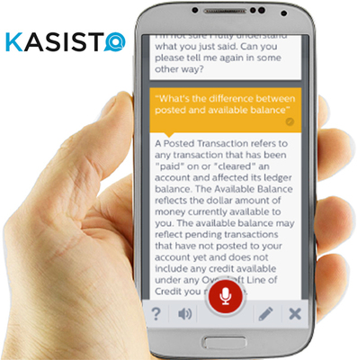 Kasisto virtual personal assistant for the enterprise lets consumers easily and quickly access information and perform tasks using voice or text on their smart devices. (PRNewsFoto/SRI International)