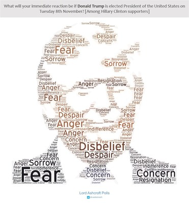 Words chosen by Clinton voters to describe how they would feel if Trump were to win (PRNewsFoto/lordashcroftpolls.com)