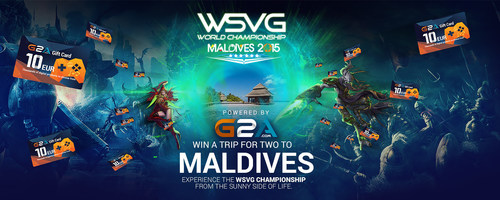 G2A - win a trip for two to WSVG World Championship 2015 in Maldives (awesome Indian ocean holiday Islands). This awesome prize is worth in excess of $8 thousand USD. Enter now to stand a chance to win. (PRNewsFoto/G2A) (PRNewsFoto/G2A)
