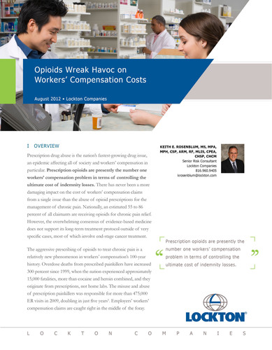 New Lockton Report Analyzes Prescription Drug Abuse and Its Effect on Workers' Compensation