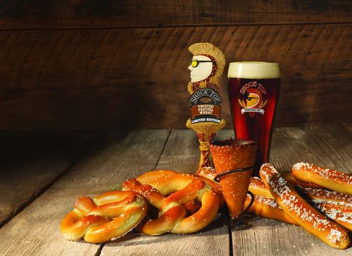 Shock Top Twisted Pretzel Wheat unites the classic taste of a crisp, cold beer and warm, bakery-fresh pretzels. (PRNewsFoto/Shock Top Brewing Co.)