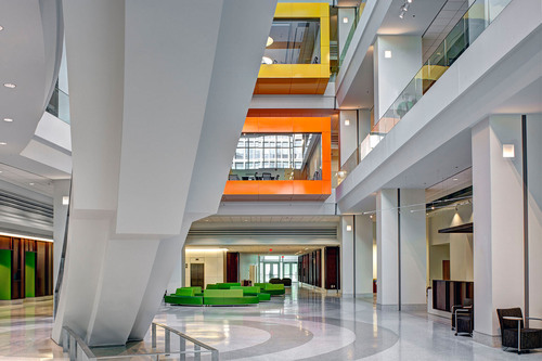 The atrium of the National Institutes of Health's John Edward Porter Neuroscience Research Center (Phase II), designed by Perkins Will, a super-green facility that opened in March to support scientific innovation and meet new U.S. energy standards.  (PRNewsFoto/Perkins+Will, Alain Jaramillo)