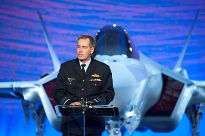 Royal Australian Air Force Air Marshal Geoff Brown delivers his remarks at the roll out ceremony for Australia's first F-35. Lockheed Martin photographer Beth Groom (PRNewsFoto/Lockheed Martin Aeronautics...)