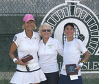 USTA National Women's 50 Clay Court Championships conclude with spectacular tennis at BallenIsles Country Club. Tournament Director and BallenIsles Tennis Director, Trish Faulkner(center) is flanked by Singles Champion and Gold Ball winner Sue Bartlett (left) and Fran Chandler who took Silver in the Singles(right).  (PRNewsFoto/BallenIsles Country Club)
