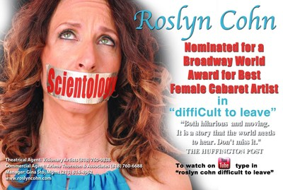 Roslyn Cohn Nominated for Best Female Cabaret Artist of the Year by Broadway World Los Angeles for her one-woman musical, DiffiCult to Leave.