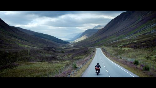 David Beckham rides a classic motorbike in the Highlands near Inverness in Scotland in the HAIG CLUB advert ...