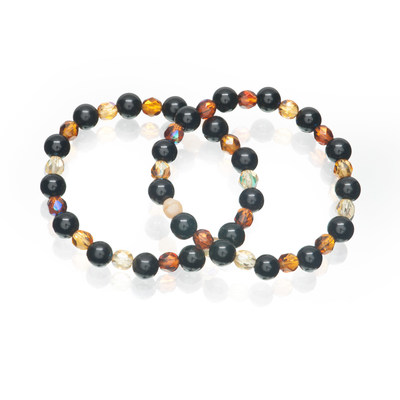 Artistic Falls Black Stone and Amber Beads Stretch Bracelets Set