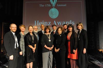 Teresa Heinz and the Heinz Family Foundation Honor Recipients of Prestigious Heinz Awards. Photo from left to right: Richard Alley, Ph.D., Janine Benyus, Joan Kleypas, Ph.D., Louis J. Guillette, Jr., Ph. D., John Luther Adams, Nancy Knowlton, Ph.D., Ian Cheney, Teresa Heinz, Curt Ellis, Nancy Rabalais, Ph.D., Sandra Steingraber, Ph.D.  (PRNewsFoto/Heinz Family Foundation, James R. Brantley)