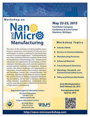 Flyer for Nano and Micro Manufacturing Workshop.  (PRNewsFoto/WIMS2 Research Center)