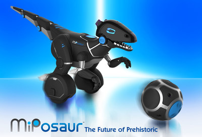 MiPosaur is a highly intelligent robotic creature with an incredible, evolving intelligence and personality. Comes complete with an interactive trackball.  Coming summer 2015 by WowWee