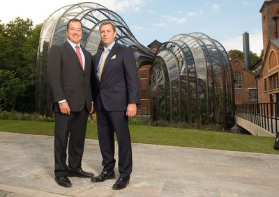 Facundo L Bacardi and Bombay Sapphire Master Distiller Nik Fordham at the official opening of the Distillery at Laverstoke Mill (PRNewsFoto/BOMBAY SAPPHIRE)