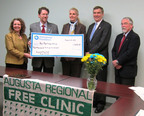 (Fishersville/Amerigroup Foundation) Amerigroup Virginia CEO, Dr. Kit Gorton, Senator Emmett Hanger and Delegate Dickie Bell present Amy Yarcich of Rx Partnership and Margaret Hersh of Augusta Regional Free Clinic with a Foundation grant.  (PRNewsFoto/Amerigroup Foundation)