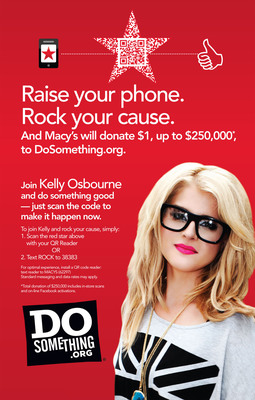 DoSomething.org and Macy's partner for a back to school campaign, featuring a QR video in Macy's mstylelab department with Kelly Osbourne.
