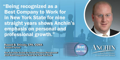 Anchin Partner Russell Shinsky on being named one of the Best Companies to Work for in New York State