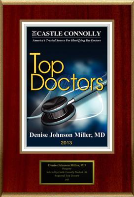 Dr. Denise Johnson Miller is recognized among Castle Connolly's Top Doctors(R) for Neptune, NJ region in 2013.  (PRNewsFoto/American Registry)