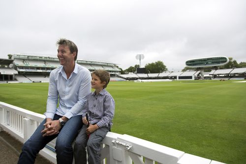 Brett Lee and 6-year-old Cochlear implant user, Isaac Easton (profoundly deaf) sharing some laughs at Lords in London (PRNewsFoto/Cochlear Limited)