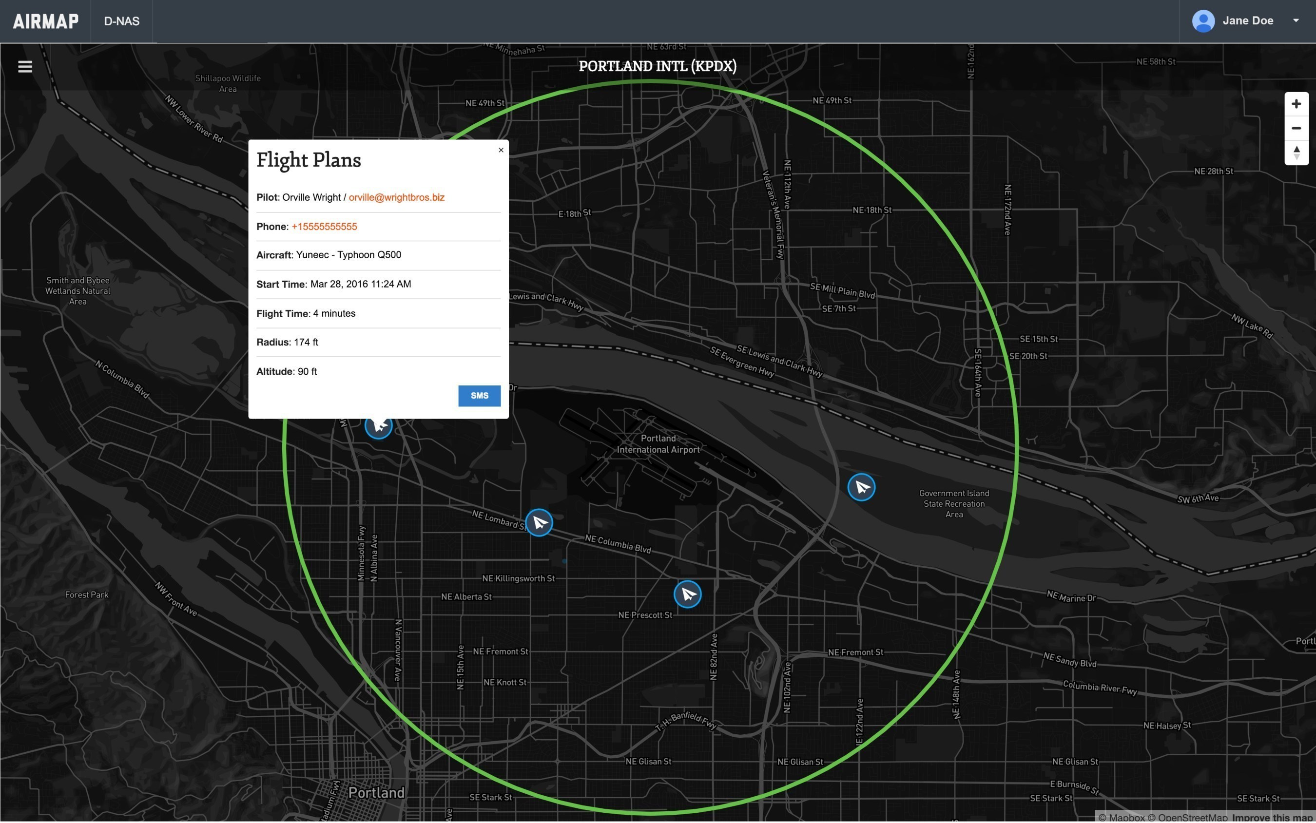 The AirMap Digital Notice and Awareness Dashboard(TM) map view.