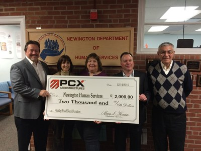Pictured from L-R:  Alan L. Haase, President and Chief Executive Officer, PCX, Karen Futoma, Director of Human Services, Carol Labrecque, Human Resources Coordinator, Craig Sullivan, Vice President of Human Resources, PCX, and Newington Mayor Roy Zartarian.
