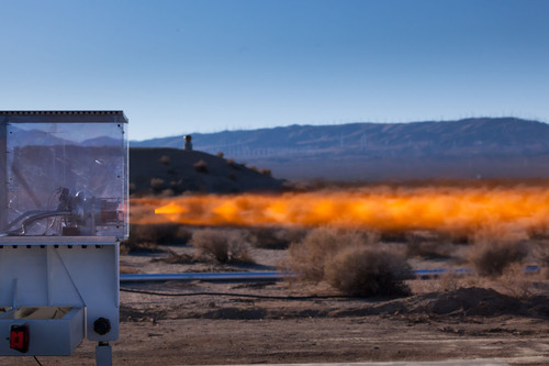 The XCOR XR-5H25 engine was hot fired for the first time at the XCOR test site located on the Mojave Air & Space Port in Mojave, California.  (PRNewsFoto/XCOR Aerospace, Mike Massee / XCOR Aero)