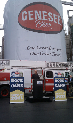 Rich Lozyniak, CEO of North American Breweries announces details about Rock the Cans and ROCtoberfest at the Genesee Brewery.  (PRNewsFoto/The Genesee Brewery)