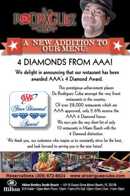 AAA 4 Diamond Award Flyer.  (PRNewsFoto/De Rodriguez Cuba)