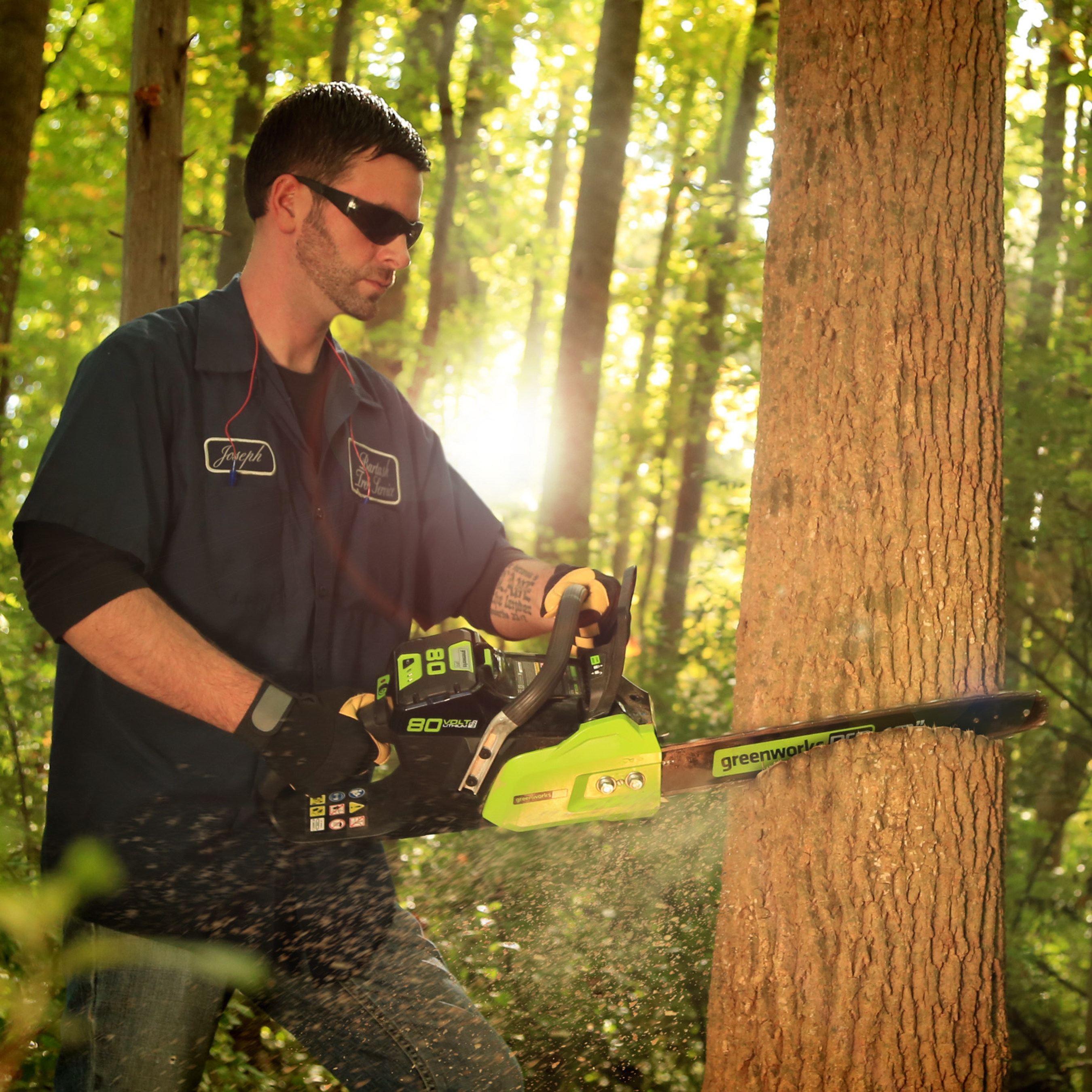 """GreenWorks Pro delivers gas-comparable power and performance without the high cost of gas and oil, which means no more tune-ups, maintenance or emissions. The 80V Chain Saw is an industry-leading 18"""" bar and chain; delivers 2.7hp, equivalent to a 42cc gas-powered saw; digital controlled brushless motor for more torque; electronic chain brake for safe operation.  Minimal vibration and noise."""