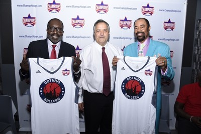 Earl Monroe (General Manager, Champions League Gotham Ballers), Carl George (Chairman & CEO, Champions League), Walt Frazier (President, Champions League Gotham Ballers)