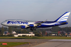National Airlines first B747-400F Freighter landing in Liege.  (PRNewsFoto/National Airlines)