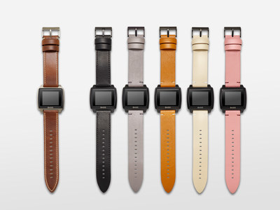(L-R): Basis Peak Titanium Edition with Cognac leather strap; Basis Peak with leather straps in Noir, Fog, Saddle, Khaki and Blush.