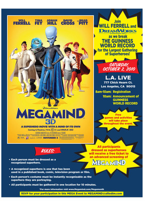Megamind: Gathering of Superheroes, Saturday, Oct. 2.  (PRNewsFoto/DreamWorks Animation, Jose Montemayor)