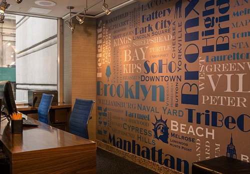 A collage of borough names surrounding New York City is one piece of artwork that will catch guests' attention the second they step into the newly renovated lobby at the Courtyard New York Manhattan/Fifth Avenue. The Fifth Avenue New York hotel has ...