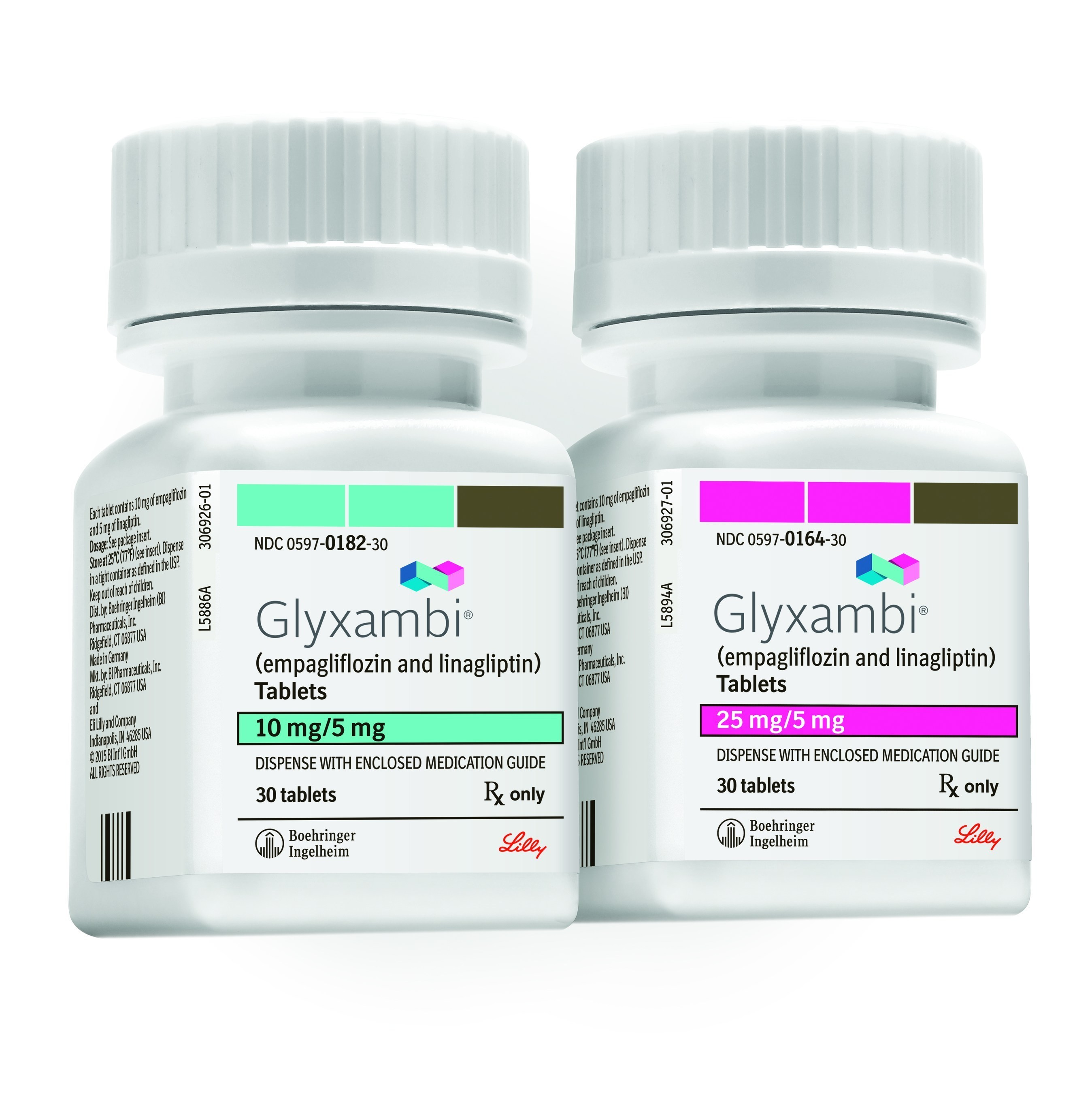 Glyxambi® (empagliflozin/linagliptin) tablet packaging 10/5 mg (left). Glyxambi® (empagliflozin/linagliptin) tablet packaging 25/5 mg (right)
