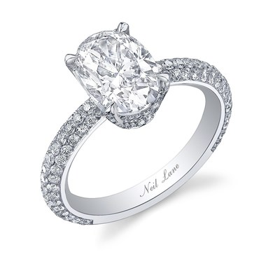 The stunning diamond and platinum ring that Jordan Rodgers used to propose to Bachelorette JoJo Fletcher is set with an oval shaped diamond on a diamond encrusted band sparkling with over 155 smaller round diamonds.  Total diamond weight 3-carats.  Hand crafted in platinum designed and signed by Neil Lane.