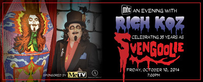 "The Museum of Broadcast Communications (MBC) and the MeTV Network are proud to honor award-winning television personality Rich Koz as he celebrates 35 years as ""Svengoolie"". An event will be held on Friday, October 10 at 7PM at the museum at 360 N. State Street in Chicago. The evening will include an exclusive interview with Rich, the unveiling of a new ""Svengoolie"" exhibit featuring his original coffin and artifacts, Halloween Costume contest and a featured horror film with classic ""Svengoolie"" bits. Svengoolie will also be meeting and greeting all his fans during an autograph session. Tickets are $35 at museum.tv. (PRNewsFoto/Museum of Broadcast Comm...)"