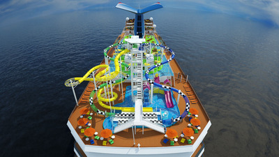 Among the Carnival Sunshine's many highlights is WaterWorks, an all-new water park where the young - and the young at heart - can have a splash-tastic time with 40 different interactive water features, including a 300-gallon drenching bucket, along with dual side-by-side 235-foot-long racing slides and an enclosed 334-foot-long Twister slide - the longest in the Carnival fleet.  (PRNewsFoto/Carnival Cruise Lines)