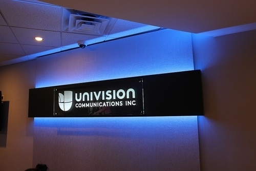 Impact Signs installed four new signs at Univision, each one communicating a slightly different identity and purpose. The Univision Communications Inc. sign is composed of cut acrylic with stainless stand offs to add a dimensional effect. (PRNewsFoto/Impact Architectural Signs)