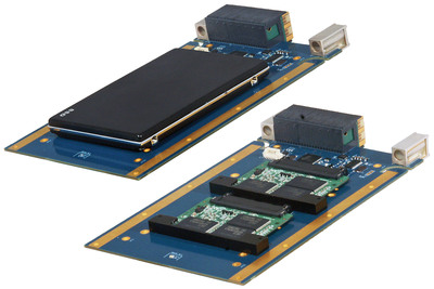 "Xembedded XVPX-9756 storage modules with installed 2.5"" solid-state drive (upper left) and dual slim SATA drives (lower right).  (PRNewsFoto/Acromag)"