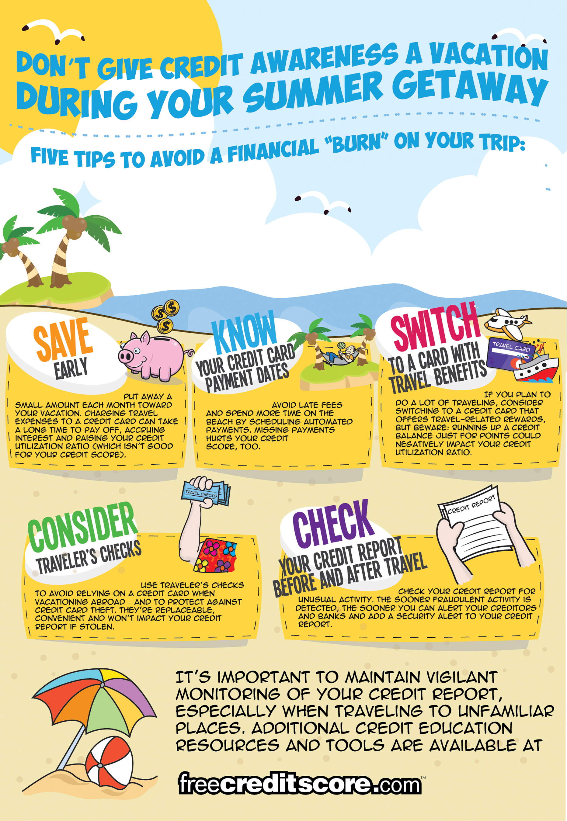 Don't give credit awareness a vacation during your summer getaway.  Staying on top of your credit score as ...