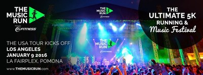The Music Run. The Ultimate 5K Running & Music Festival kicks off its US tour in Los Angeles on January 9, 2016 at the LA Fairplex, Pomona. For more information visit www.themusicrun.com