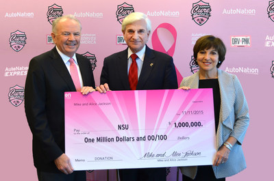 Left to right - Mike Jackson, Chairman, Chief Executive Officer and President of AutoNation, Inc.,  Dr. George Hanbury, Nova Southeastern University President and CEO, and Alice Jackson, cancer survivor, businesswoman and philanthropist hold a check from the Jacksons for $1 million to support NSU's cancer research.