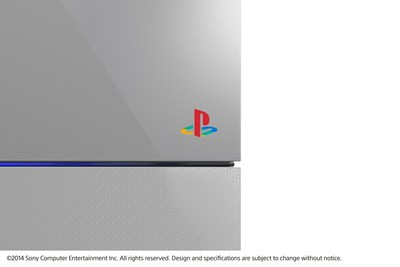 "Sony Computer Entertainment announced the ""PlayStation 4 20th Anniversary Edition"" commemorating the 20th anniversary of the original PlayStation on Dec. 3, 1994. Pictured is a close-up of the limited edition PS4 with its PlayStation family mark logo on the front side; this design is similar to the original PlayStation."