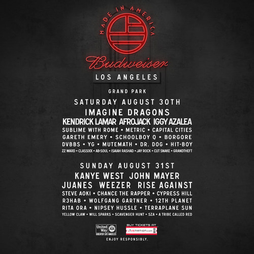 """KANYE WEST AND IGGY AZALEA JOIN THE LOS ANGELES """"BUDWEISER MADE IN AMERICA"""" MUSIC FESTIVAL LINE-UP ..."""