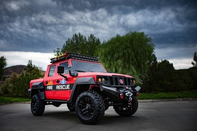 The Alkane Dominator off-road fire/rescue concept SUV is based on a production prototype vehicle created by the new truck OEM Alkane, which is making its North American debut at SEMA. The beastly machine, positioned as an alternative to Humvee-like SUVs, features a durable exterior finish, LINE-X Body Armour and an industry-leading LINE-X PREMIUM bedliner.