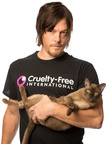The Walking Dead star Norman Reedus, pictured with Lola, joins Cruelty Free International call for the USA to follow the European Union's lead and end animal tests for cosmetics (http://www.crueltyfreeinternational.org). Portrait by Leslie Hassler in New York City.  (PRNewsFoto/Cruelty Free International, Leslie Hassler)