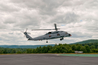 The first MH-60R SEAHAWK(R) helicopter delivered by Sikorsky Aircraft for the Royal Australian Navy arrived July 24 at Lockheed Martin Mission Systems & Training in Owego, N.Y., for installation of the digital cockpit and integrated mission systems and sensors.  (PRNewsFoto/Sikorsky Aircraft Corporation)